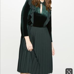 Eloquii velvet pleated dress with ruffle detail
